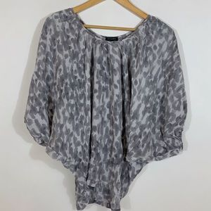 Saks Fifth Avenue Silk Top with Dolman Sleeves M